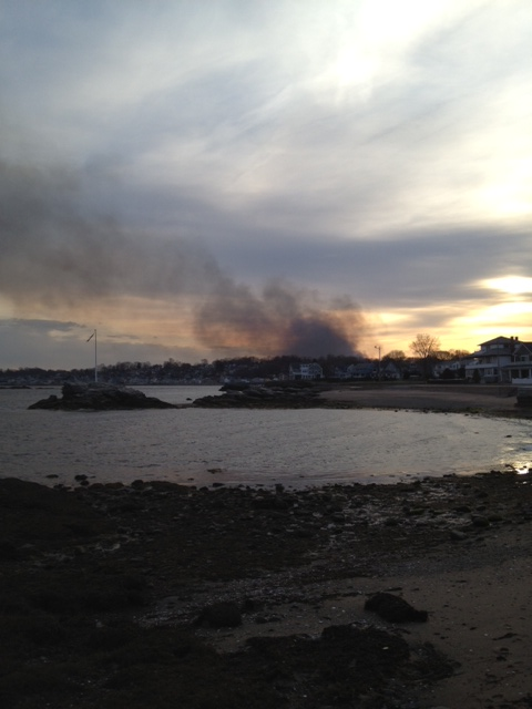 smoke billowing up from a brush fire in Milford, Ct on 4/9/12