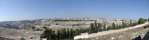 Panorama of the Temple Mount, as seen from the Mount of Olives in Jerusalem