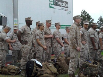 U.S.Marines forming for roll call moments before boarding a bus to deploy on the USS Bataan for 11 months.
