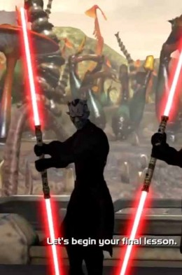 Kinect Star Wars Defeat Ror and his sith twin