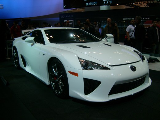 The LFA. Billed as the first Lexus Supercar.  It goes from 0-60 in 3.6 seconds and max speed is 202 mph. There it goes!