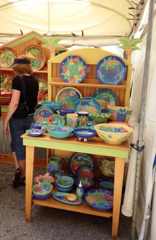 Handpainted pottery reflected Floridian colors and themes.