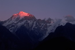 Kinnaur Kailash - The first ray of sunrise falling on the mountain, creating a beautiful scenery!