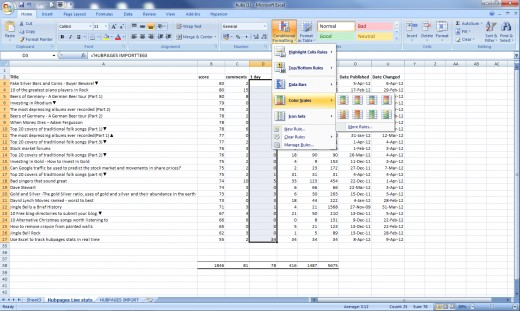 Highlight the column/cells then apply conditional formatting