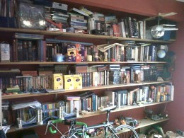 Excuse the mess!  It's getting a bit cramped, and there's really almost no room left for more books.