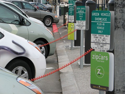 Zipcars charging at the San Francisco City Hall public recharging station