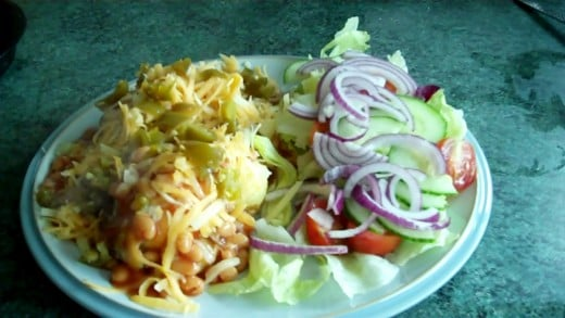 Baked Potato With Cheese, Beans & Jalapenos with Side Salad