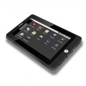 The Coby Kyros tablet runs a stripped-down version of the Android operating system and offers an input for a MicroSD card.