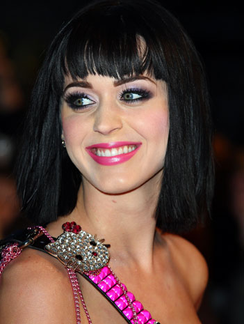 Katy Perry with her blue eyes in smokey eye makeup