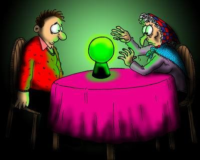 Although quite humorous, this picture is one of an out dated practice.  There aren't too many with the psychic gift who use a crystal ball anymore.  The crystal ball is often associated with Gypsies or carnival fortune tellers.