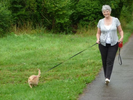 Taking my ma for a walk.