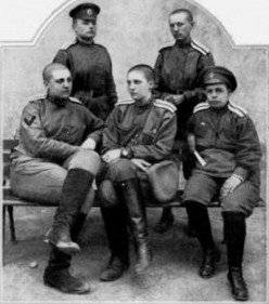 WW1: The officers of the 1st Russian Women's Battalion of Death with Bochkareva bottom left and Skridlova center.