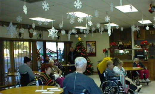 Residents in convalescent home wait for carolers to to add some variety and cheer to their holiday season.
