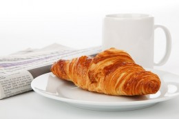 What a shut-in may look forward to for breakfast, with the newspaper for companionship.