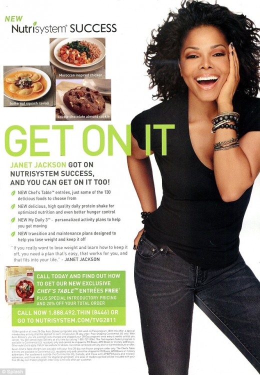 Janet Jackson. new sportsperson for Nutrisystem, source Nutrisystem