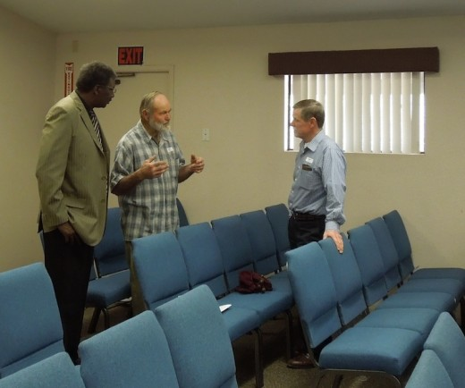 Men talking after church on Easter Sunday. One has just finished a round of chemotherapy and experienced church love. He, himself was a hospital chaplain.Two helped us the day we moved in. One helps with our weed abatement.