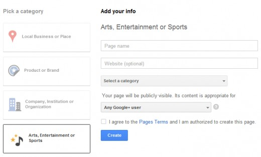 Fill the Information to Create a Google Plus Page