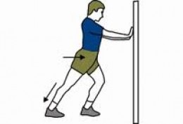 Keep your back leg straight and heel on the ground, push your hips toward the wall. You should feel the stretch in the upper calf (gastrocnemius).  Hold for 15 - 20 seconds, repeat 4 times