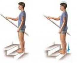 Stand with your toes on the edge of a stair. Shift your body weight over your heels then drop your heels down as far as possible, stretching out your achilles tendon. Hold for 15 - 20 seconds, repeat 4 times.
