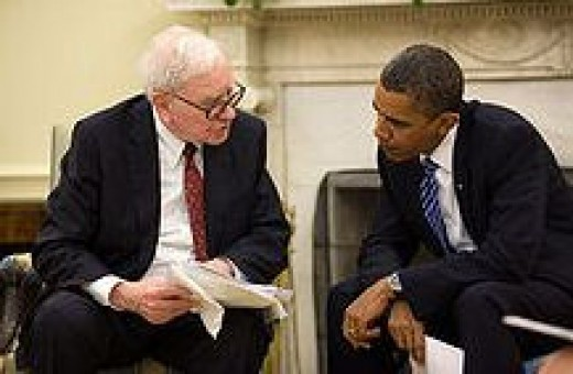 Buffett and President Obama at the Oval Office, July 14, 2010