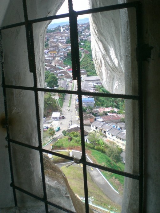 View from the window in the Christ statue inside Belalcazar, Colombia