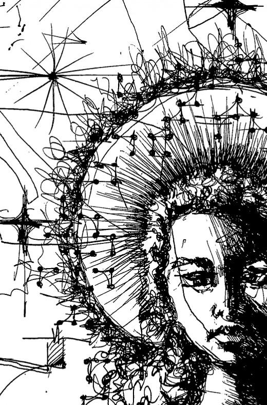 """Childhood"" by Wissam Shekhani; black ink on paper."