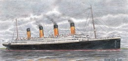 "by David Liao: R.M.S. Titanic off the Isle of Wight on 1912 April 10, PrismaColor Premier sketch, 4.75"" by 9"" Plate Bristol, based on photograph by Frank Beken of Cowes (the photograph itself belongs to the public domain)   Date   31 December 200"