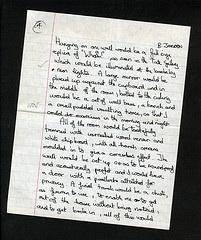 A hand-written essay