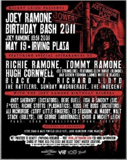 Poster for 2011's Joey Ramone Birthday Bash concert