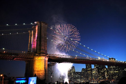 Fireworks over the Brooklyn Bridge as I'm a N.Y.C. girl.