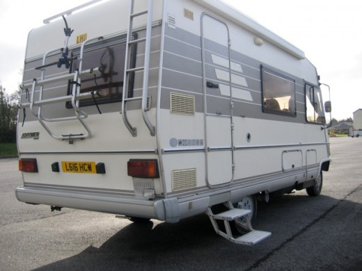 Our second Hymer with its handy access to the roof and rear bike rack