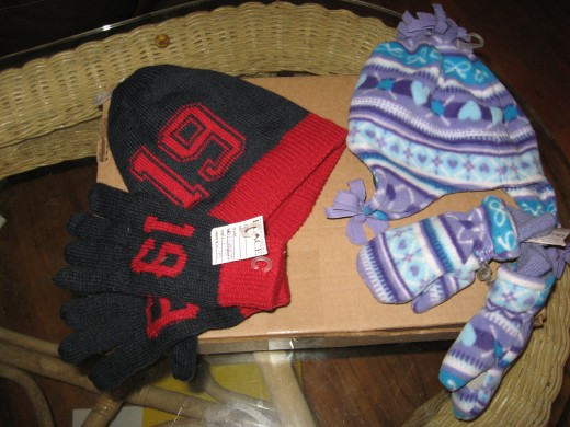 We bought hats, gloves, and scarves yesterday for 50 cents each.