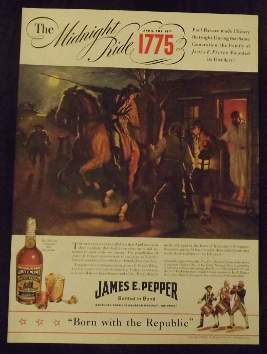 1940 James E. Pepper Whiskey Print Ad (Artist Unknown)