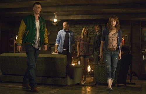 Curt (Chris Hemsworth), Holden (Jesse Williams), Jules (Anna Hutchison), Marty (Fran Kranz) and Dana (Kristen Connolly) in 'The  Cabin in the Woods.'