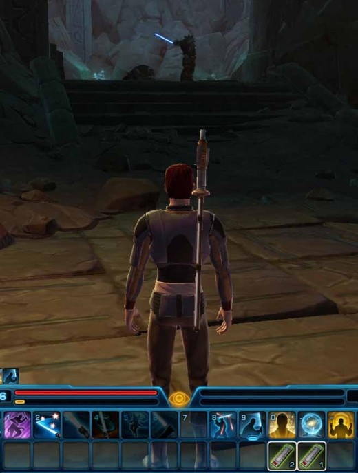 SWTOR Defeat Flesh Raider Bladewielder. Notice how the jedi knight abilities are arranged on the quickslots to facilitate usage of abilities and quick transition from one ability to the next.
