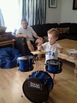 It's important to expose children to music. They especially like ot make their own. Wait, Ringo is that you?