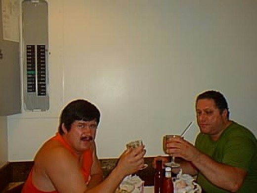 Martin and Frank the last drink together