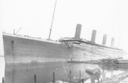 R.M.S Titanic with her funnels
