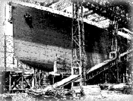 R.M.S Titanic being constructed