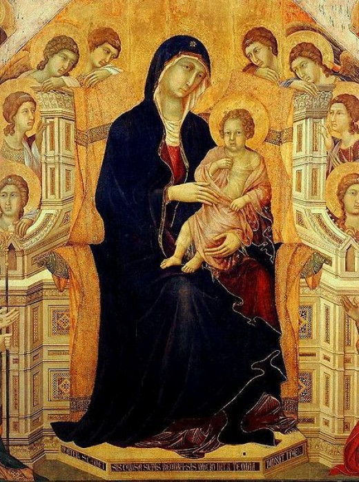 A close up on the front of the Maesta, featuring Mary with the Christ child.