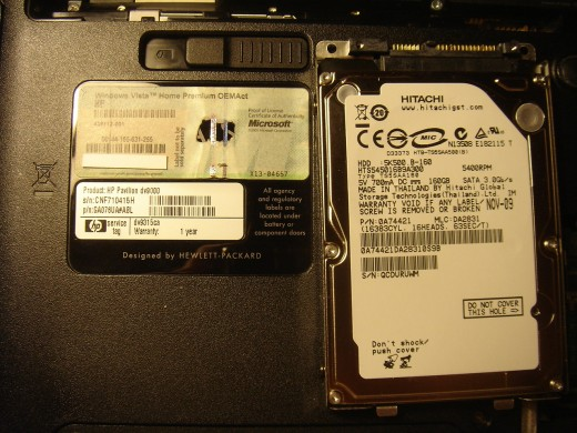 Installed a 160G hard drive with no bad sectors.