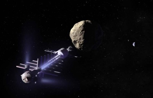 Illustration of a gravity tractor spacecraft tugging an asteroid off of its collision course.