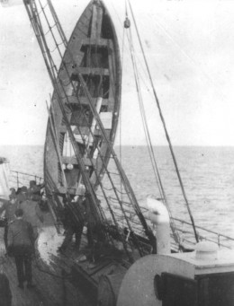 R.M.S Titanic's lifeboat being drained of water on-board R.M.S Carpathia