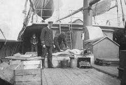 victims from R.M.S Titanic disaster being brought back to Halifax, Nova Scotia, Canda