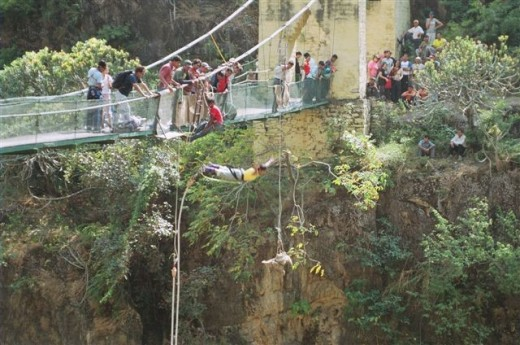 Bungee jumping off the suspension bridge...