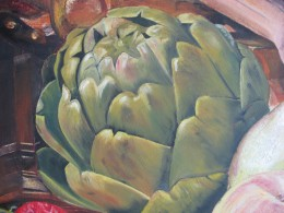 Detail - artichoke. Detail from a large study. Private collection. Oil on canvas board.