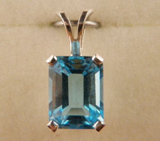 Emerald Cut Swiss Blue Topaz Pendant