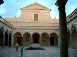 Facade of the church at the monastery at Monte Cassino.