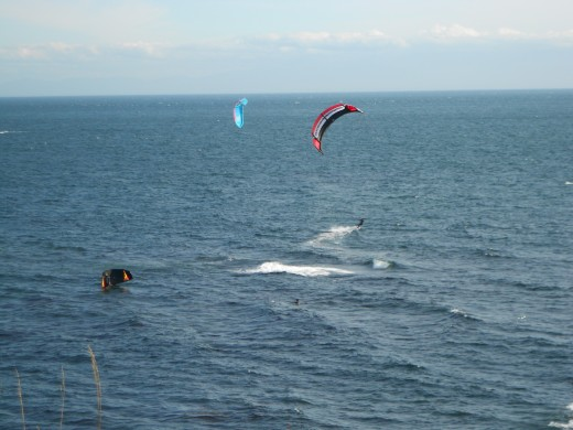 Wind Surfers get blown around.