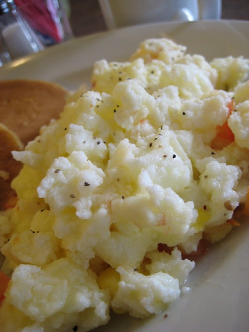 Scrambled Egg Whites. Egg whites can be used in the recipe below instead of whole eggs.